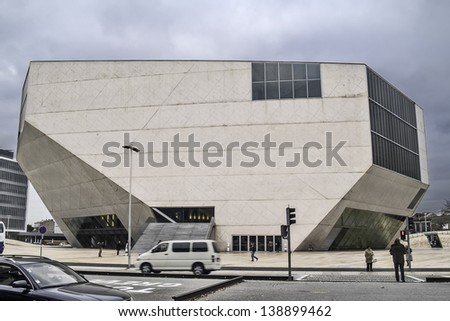 OPORTO, PORTUGAL - DECEMBER 3: Music House auditorium on December 3, 2012 in Oporto, Portugal. Architect Rem Koolhaas 1999 - 2005 inside the project for European Capital of Culture in Oporto in 2001. - stock photo