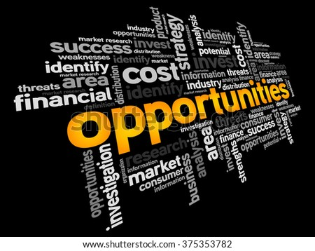 Opportunities word cloud, business concept - stock photo