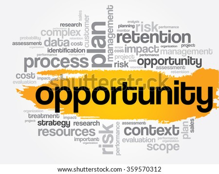 Opportunity and success word cloud, business concept - stock photo