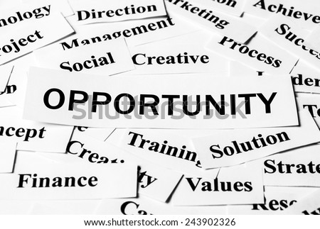 Opportunity concept with some related words paper. - stock photo