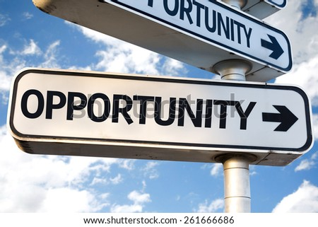 Opportunity direction sign on sky background - stock photo