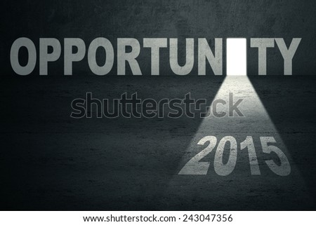 Opportunity door with number 2015 and bright light toward the future - stock photo