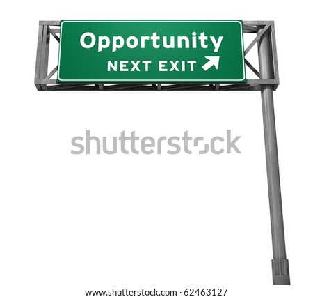 Opportunity Freeway Exit Sign - stock photo