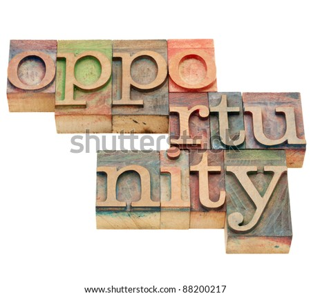 opportunity - isolated word in vintage wood letterpress printing blocks