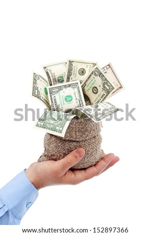 Opportunity presented - sack of money offered by businessman hand, isolated - stock photo