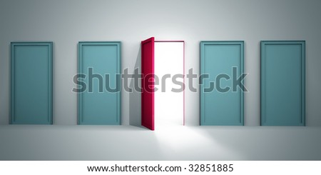 Opportunity to success concept only one red door is open for opportunity 3d illustration - stock photo