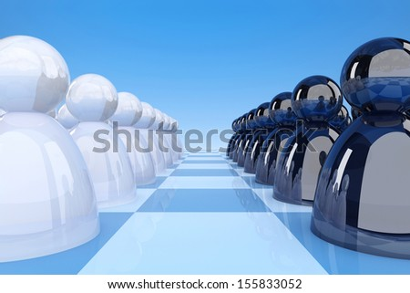 Opposing lines of black and white figurines on a chessboard. 3d render illustration - stock photo