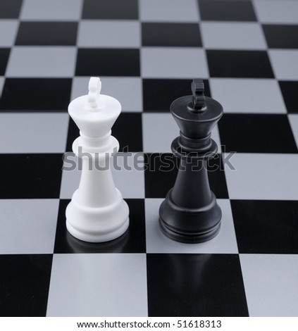 Opposition. Chessmen of competing kings, conceptual concept of competition
