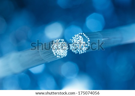 Optic fiber cable connecting - stock photo