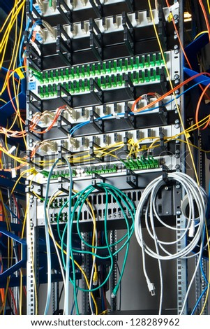 optic fiber hub as part of internet infrastructure - stock photo