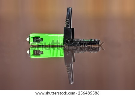 Optical fiber single mode LC connector - stock photo