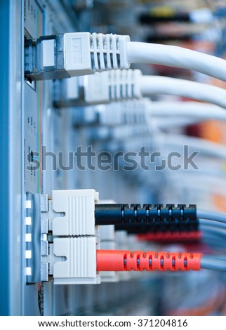 optical fibre cable on server