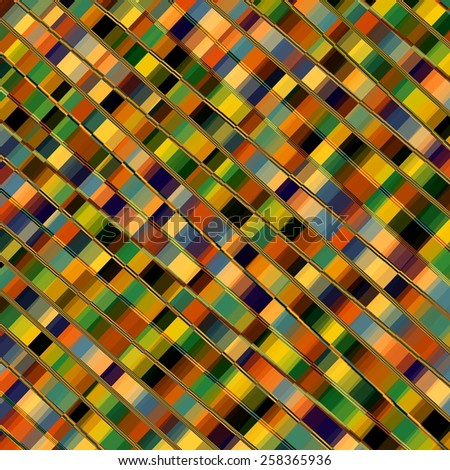 Optical Illusion Mosaic. Parallel Lines. Abstract Geometric Background Pattern. Colorful Diagonal Stripes. Decorative Stripes. Plaid Artwork. Artistic Colored Tiles. Striped Art Illustration. - stock photo
