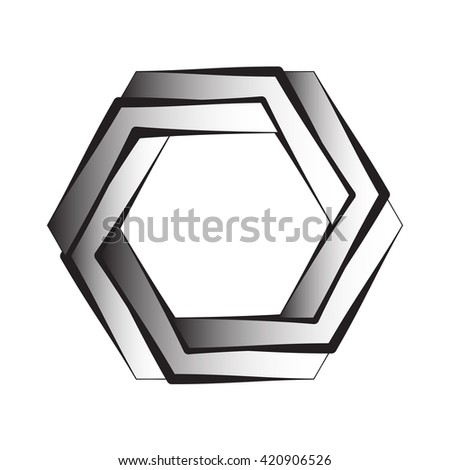 Optical illusion of the gradient, abstract geometric design element. Printoptical illusion symbols, Impossible sign  - stock photo
