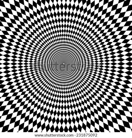 Optical illusion zoom black and white background - stock photo