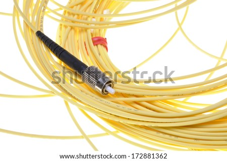 Optical patch cord PC standard isolated on white background - stock photo