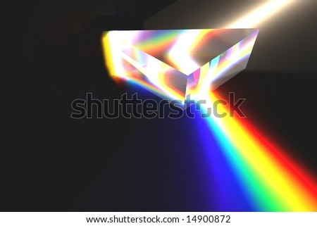 Optical prism (Rendering) - stock photo