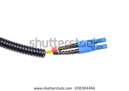 Optical single mode LC patch cord isolated on white background