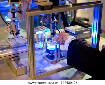 optical transducer in a modern plant. - stock photo