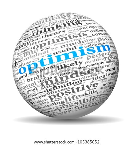 Optimism concept in word tag cloud on 3d sphere - stock photo