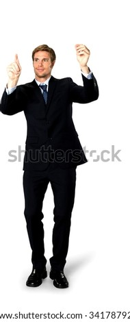 Optimistic Caucasian man with short medium blond hair in business formal outfit holding invisible object - Isolated