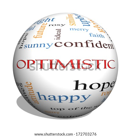 Optimistic 3D sphere Word Cloud Concept with great terms such as hopeful, upbeat, happy and more.