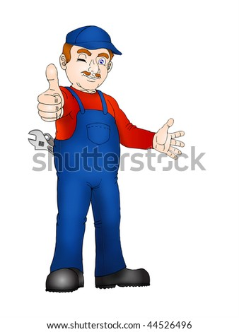 optimistic Handy man approving the product - stock photo
