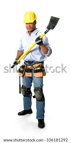 Optimistic Male Construction Worker with short black hair in uniform holding shovel - Isolated