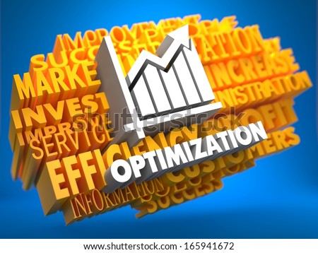 Optimization with Growth Chart - White Color Text on Yellow WordCloud on Blue Background. - stock photo