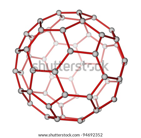 Optimized molecular structure of fullerene C60 on a white background - stock photo