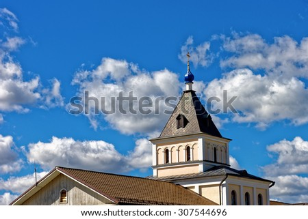 Optina Pustyn', Kozelsk, Kaluga region - August 16, 2015: Eastern Orthodox monastery for men. The temple in honor of the PDP. Mary Of Egypt. - stock photo