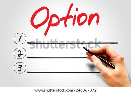 OPTION blank list, business concept - stock photo