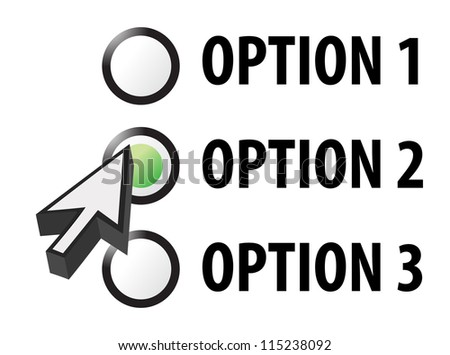Option 1 2 or 3 selection illustration design - stock photo