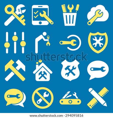 Options and service tools icon set. Glyph style: flat bicolor symbols, yellow and white colors, rounded angles, blue background. - stock photo
