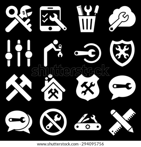 Options and service tools icon set. Glyph style: flat symbols, white color, rounded angles, black background. - stock photo