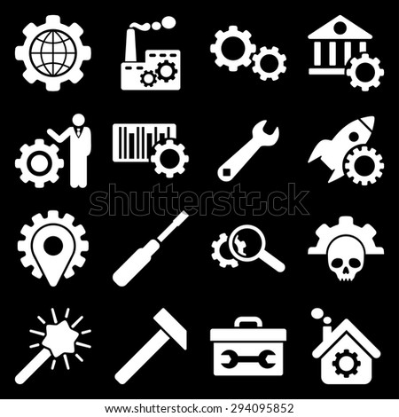Options and service tools icon set. Glyph style: flat symbols, white color, rounded angles, black background.