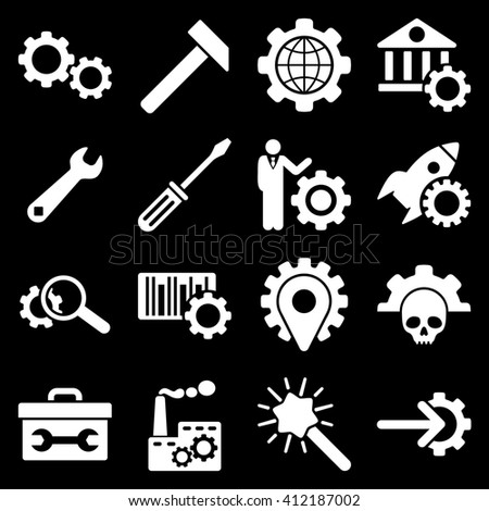 Options and service tools icon set. Glyph style is flat symbols, white color, rounded angles, black background.