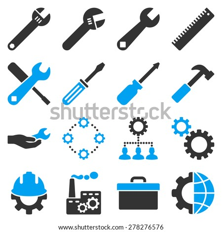 Options and service tools icon set. These bicolor icons use modern corporate light blue and gray colors. Objects are isolated on a white background.  - stock photo