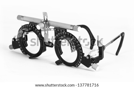 Optometrist test sight and glasses easy isolated - stock photo