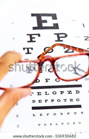 optometry concept, close up at eye chart - stock photo