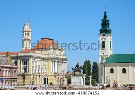 Oradea City Town Hall in Union Square at the time of the work in progress to renew the paving,  Romania  - stock photo