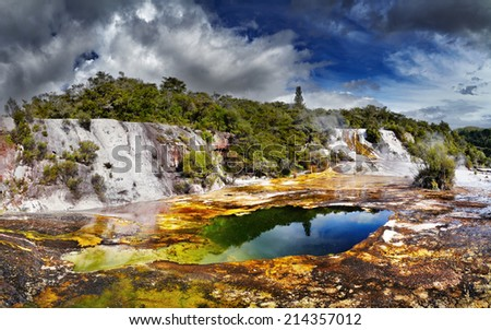 Orakei Korako geotermal area, New Zealand - stock photo