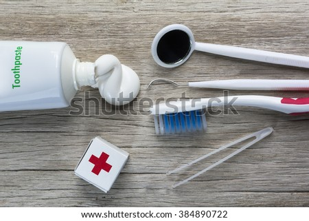 Oral health care equipment on a wooden background./ Oral health care equipment  - stock photo