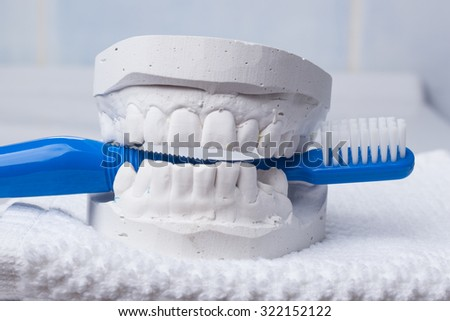 Oral hygiene health concept. Closeup blue toothbrush in dental gypsum model plaster - stock photo