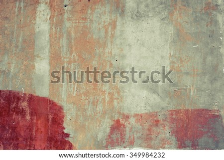 Orange abstract brushed concrete surface. Red traces. Vintage effect. - stock photo
