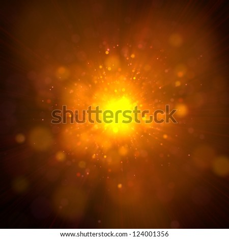 Orange Abstract & Festive background with bokeh defocused lights - GOLD