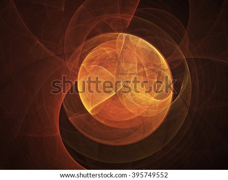 orange abstract  round curves and lines on dark background