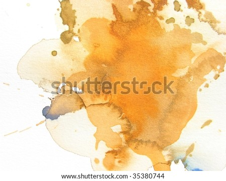 orange abstract watercolor background - stock photo