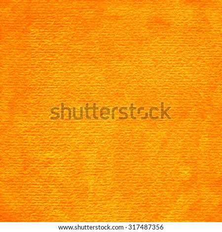 Orange abstract watercolor macro texture background. Colorful handmade technique aquarelle. Empty surface of square format with grungy paper effect for your graphic design ideas - stock photo