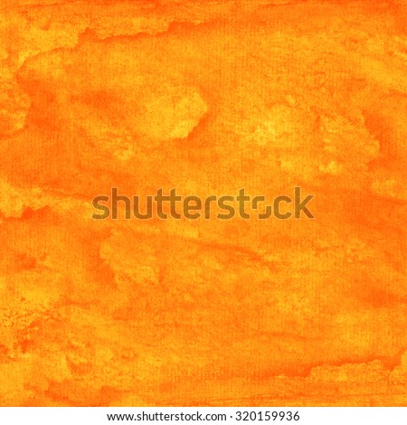 Orange abstract watercolor macro texture background. Colorful handmade technique aquarelle. Empty surface of square format with grungy paper effect